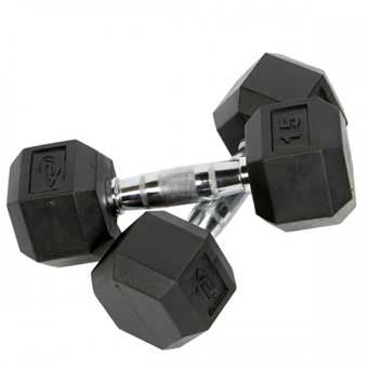 Element Fitness Virgin Rubber Hex Single Dumbbell - 15 lb